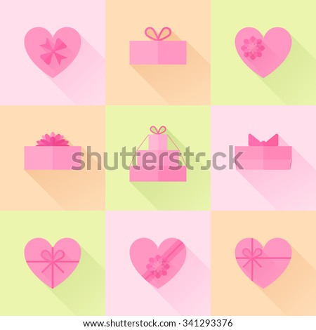 Flat pink gift box in the form of heart icon set with different bows. Valentines day surprise. Gift wrapping, wrap, package. light pink gift box icons collection with long shadow for web and design. - stock vector