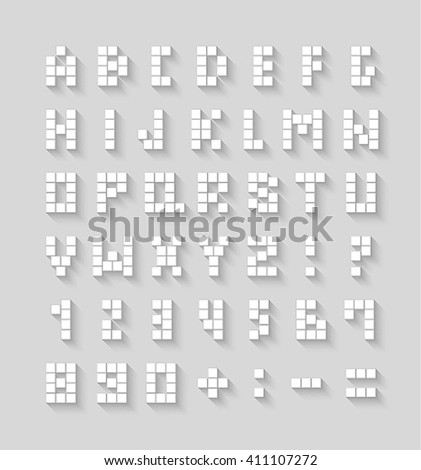 Flat pixel font with shadow effect. Vector illustration. - stock vector