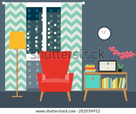 flat place for reading in living room with chair and bookcase. vector illustration - stock vector