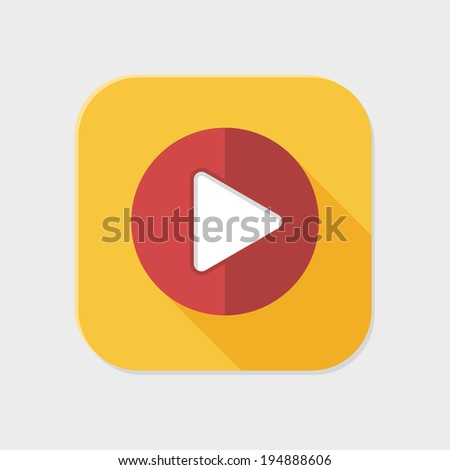 Flat play icon for application on grey background - stock vector