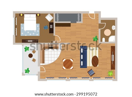 Flat project with furniture, vector, view from above - stock vector