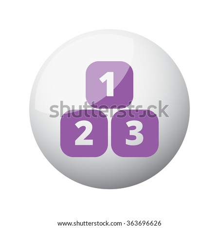 Flat purple 123 Blocks icon on 3d sphere - stock vector