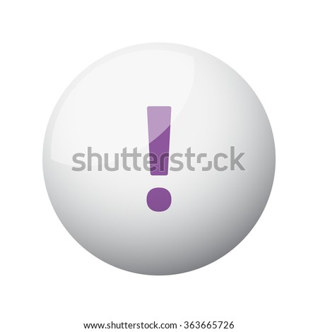 Flat purple Exclamation Mark icon on 3d sphere - stock vector