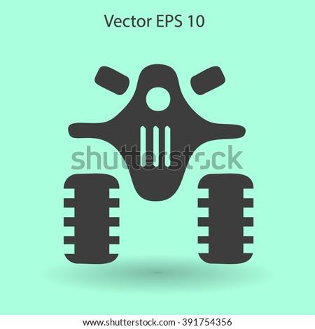 Flat quad bike icon - stock vector