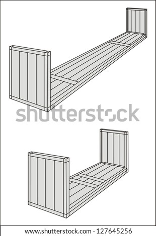 Flat rack/oversize/over-dimensional cargo container line drawing - international maritime trade black and white vector illustration (part 4) - stock vector