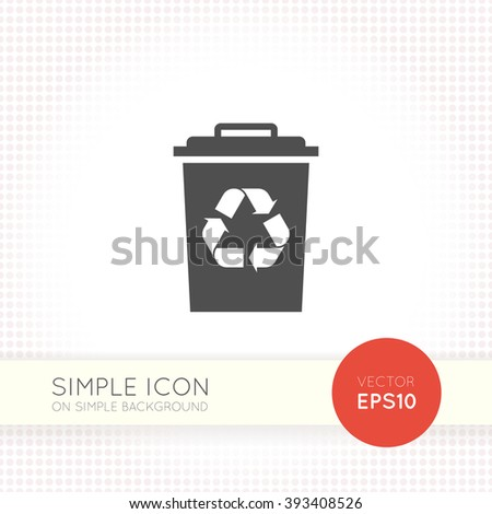 Flat Recycle Garbage tank icon. Recycle bin icon eps. Trash bin vector illustration. - stock vector