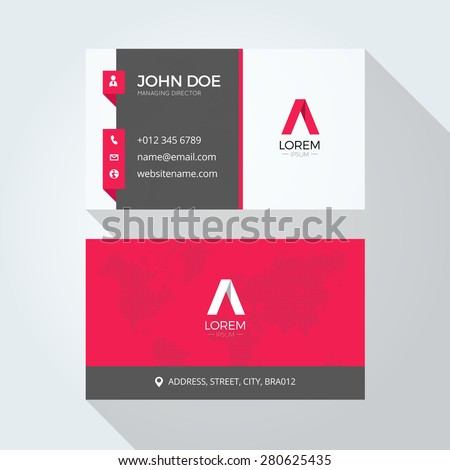 Flat red letter logo business card stock vector 280625435 shutterstock flat red a letter logo business card template fbccfo Gallery