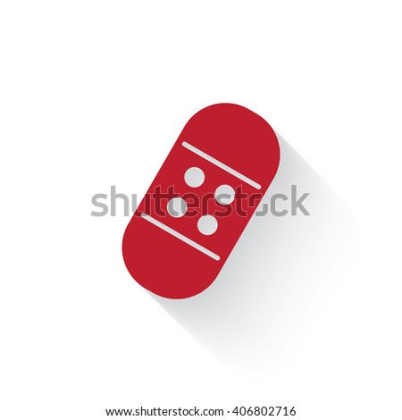 Flat red Adhesive Bandage web icon with long drop shadow on white - stock vector