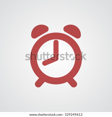 Flat red Alarm Clock icon  - stock vector