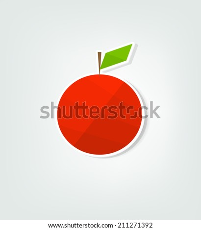 flat red apple sticker - stock vector