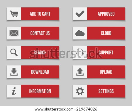Flat red buttons - stock vector