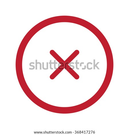 Flat red Cancel icon in circle on white - stock vector