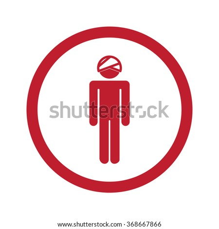 Flat red Head icon in circle on white