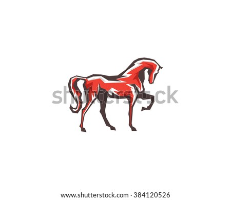 Flat red horse - stock vector