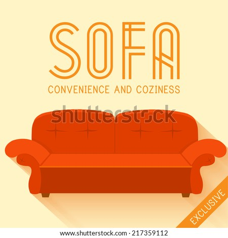 Flat red sofa background vector illustration concept - stock vector