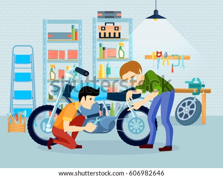 Fixing A Bike Clipart