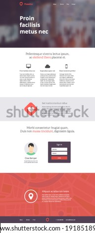 Flat responsive website theme design template. Landing web page layout adaptive for 960 grid - stock vector