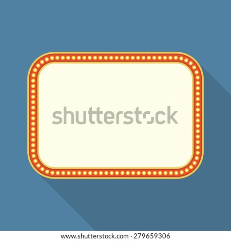 Flat retro banner with long shadow, vector eps10 illustration - stock vector