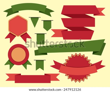 Flat ribbons collection with flags and banners - stock vector