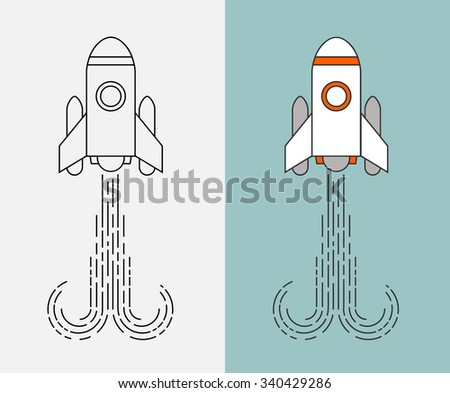 Flat rocket icon. Startup concept - stock vector