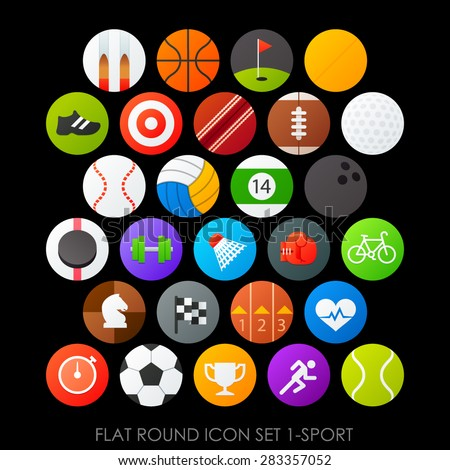 Flat round icon set 1-sport - stock vector