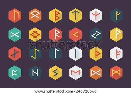 Flat runes - stock vector