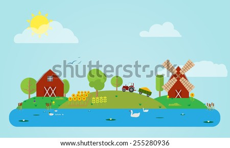 Flat rural countryside vector illustration with barn, windmill, tractor, field of sunflowers and corn, river. Different flat icons of trees, grass, flowers. - stock vector