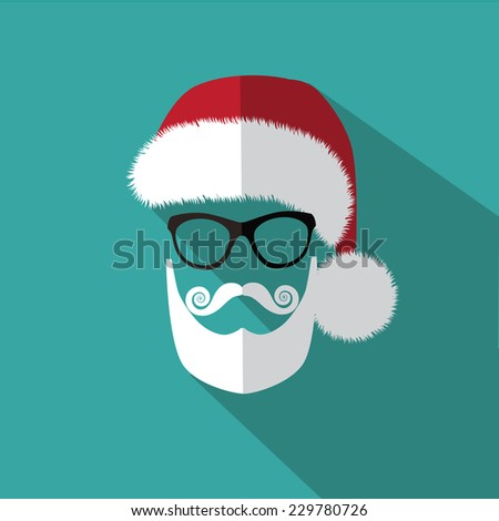 Flat Santa icon Christmas card EPS 10 vector illustration - stock vector