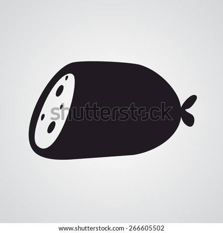 Flat sausage icon - stock vector