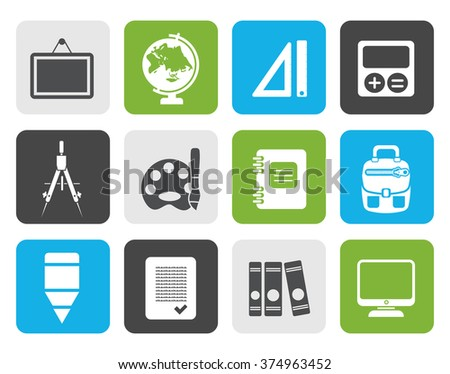 Flat School and education icons - vector icon set - stock vector