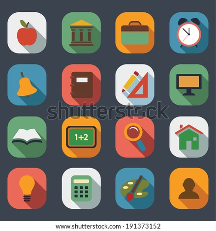 Flat School Icons set.Vector - stock vector