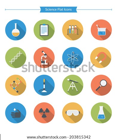 Flat Science Icons - stock vector