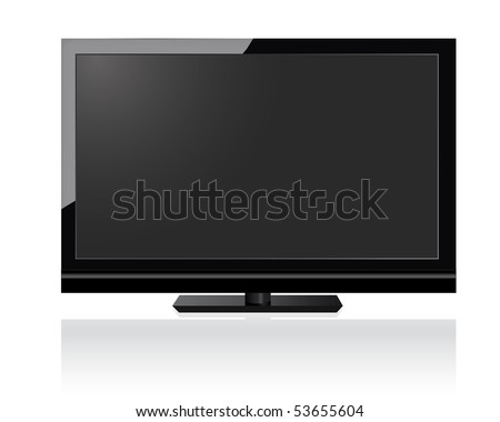 flat screen HD television in new technology - stock vector