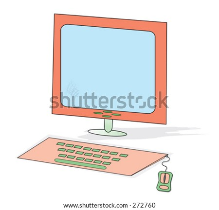 flat screen monitor with keyboard and mouse - stock vector