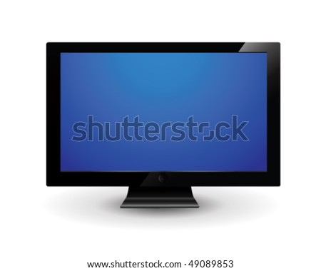 Flat screen tv isolated in white - stock vector
