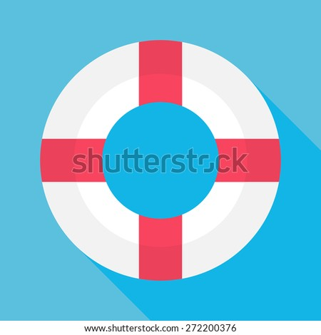 Flat Sea Lifebuoy with Long Shadow. Vector Illustration Flat Stylized