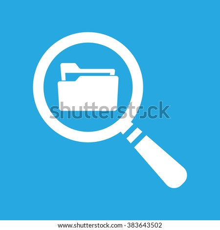 Flat Search concept with folder icon - Computing - Data and information on a blue background - stock vector