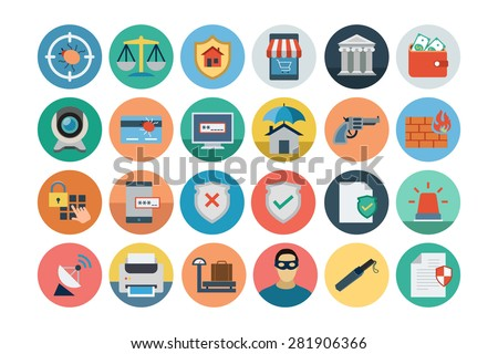 Flat Security Vector Icons 2 - stock vector