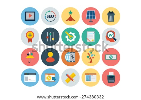 Flat Seo and Marketing Icons - Vol 5 - stock vector