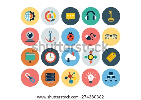 Flat Seo and Marketing Icons - Vol 4 - stock vector