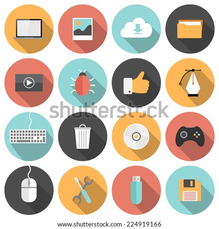 Flat seo, development, social media and computer icons with long shadows   - stock vector