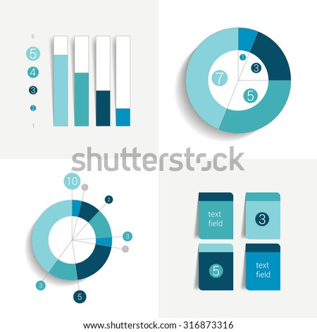 Flat set of charts and brochure elements. Simply color editable. Infographics elements. - stock vector