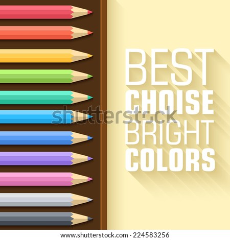 Flat set of colored pencils with shadow on the background. Vector illustration concept design - stock vector