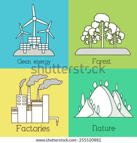Flat set of ecology, environment, green clean energy and pollution backgrounds. Vector concept illustration. Thin lines outline design - stock vector