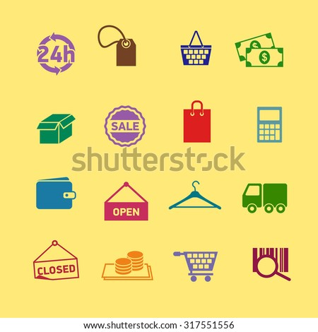 Flat set of modern vector icons and symbols on shopping and e-commerce theme. Vector icons.