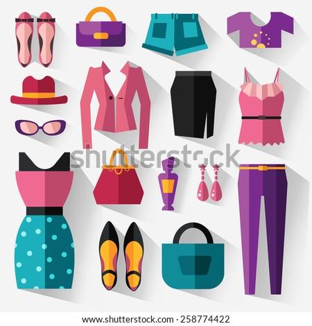 flat set of women's clothing - stock vector