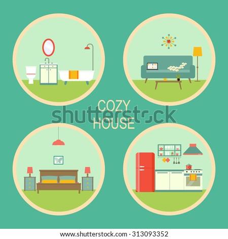 Flat Set Retro Interior Living Room Bathroom Bedroom And Kitchen Vector Illustration