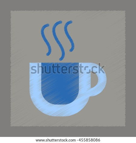 flat shading style icon cup coffee flavor - stock vector