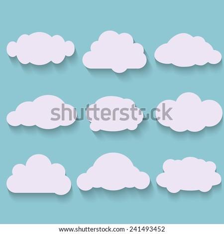Flat shadows. Flat design cloud collection - stock vector