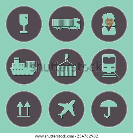 Flat shipping and cargo icon set. Vector illustration - stock vector